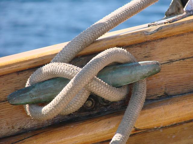 船のひもで結ぶ