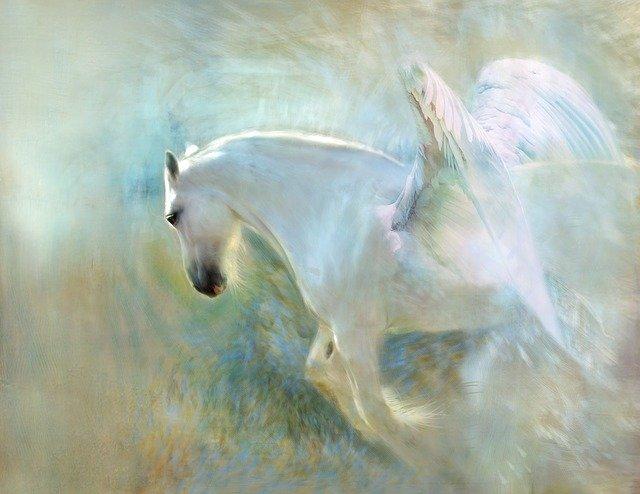 煎餅やを救いに来た馬に乗る天使