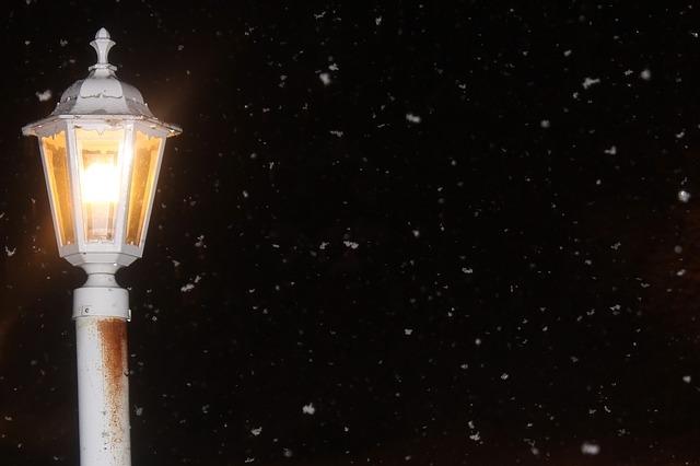 雪と街灯と公園